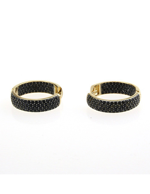Fashion Black+gold Color Round Shape Decorated Earrings
