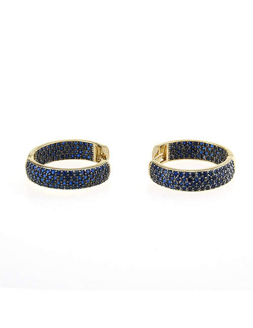 Fashion Gold Color+blue Round Shape Decorated Earrings