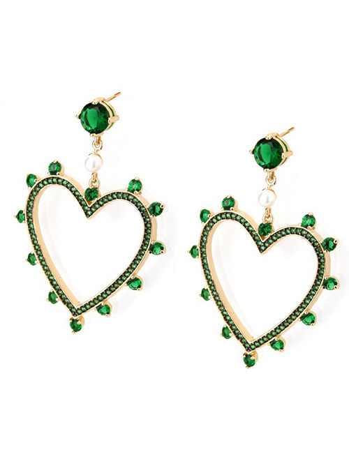 Fashion Gold Color+green Heart Shape Decorated Earrings