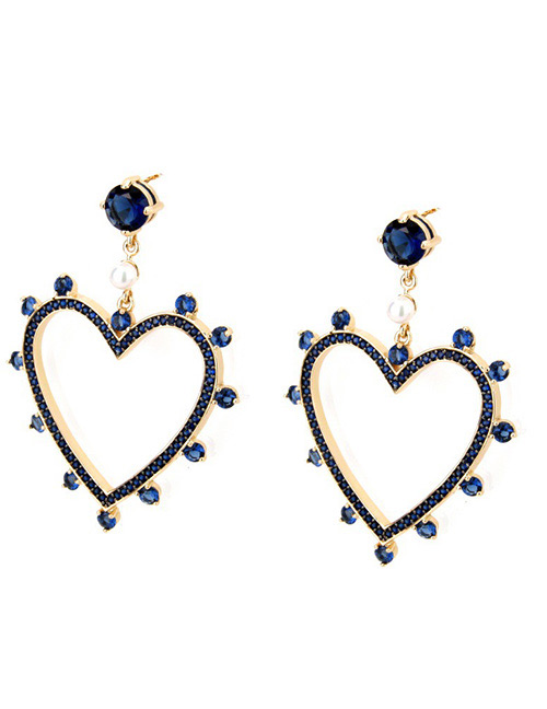 Fashion Gold Color+sapphire Blue Heart Shape Decorated Earrings