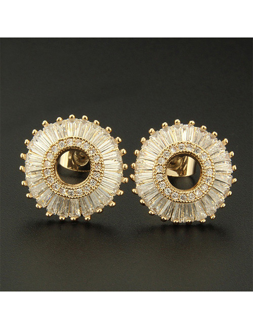 Fashion Gold Color Round Shape Decorated Earrings