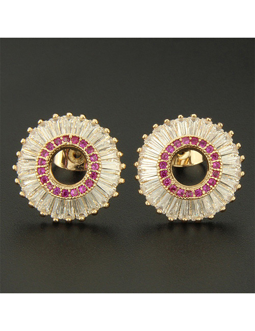 Fashion Gold Color+red Round Shape Decorated Earrings