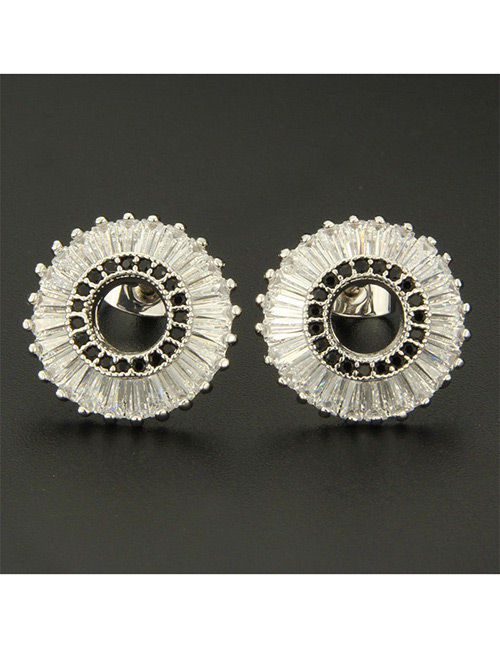 Fashion Silver Color+black Round Shape Decorated Earrings