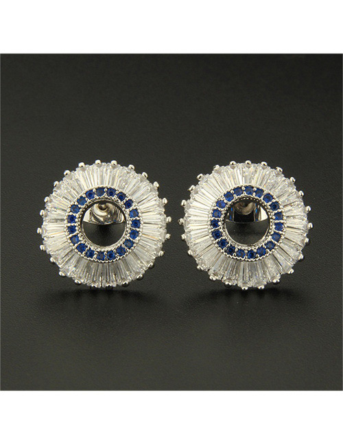 Fashion Silver Color+blue Round Shape Decorated Earrings