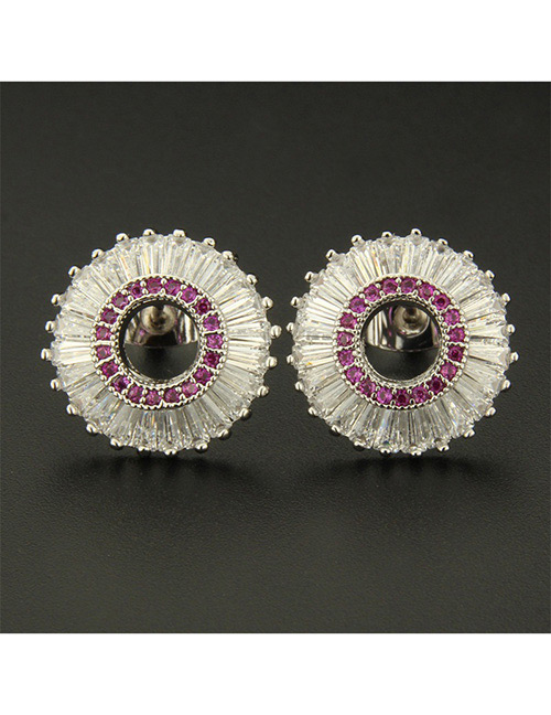 Fashion Silver Color+red Round Shape Decorated Earrings