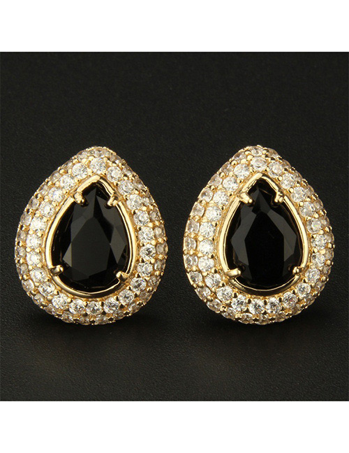 Fashion Gold Color+black Water Drop Shape Decorated Earrings