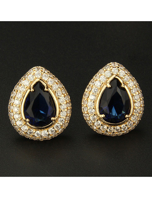 Fashion Gold Color+blue Water Drop Shape Decorated Earrings