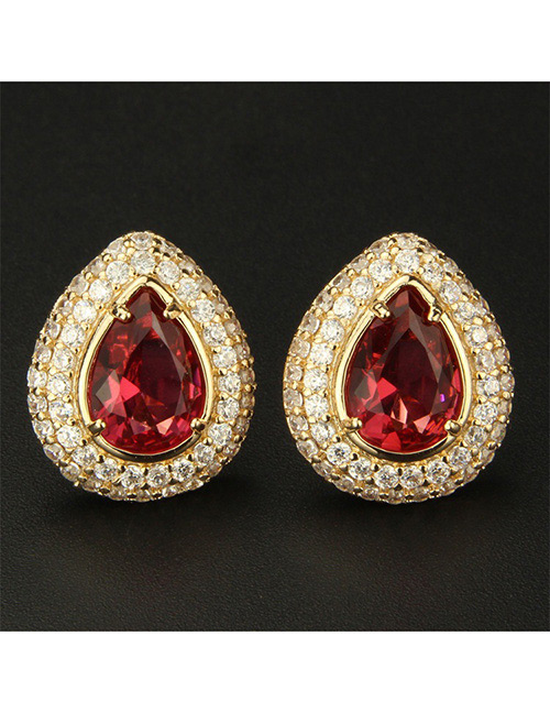 Fashion Gold Color+red Water Drop Shape Decorated Earrings