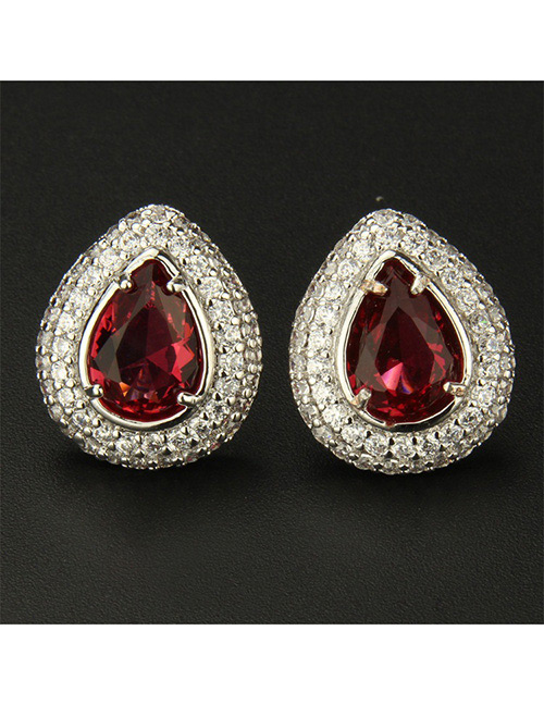 Fashion Silver Color+red Water Drop Shape Decorated Earrings