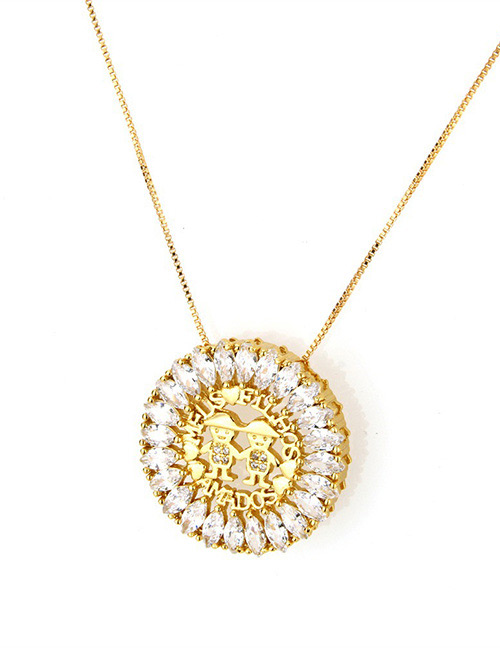 Fashion Gold Color Round Shape Decorated Hollow Out Necklace