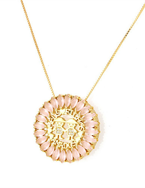 Fashion Gold Color+pink Round Shape Decorated Hollow Out Necklace