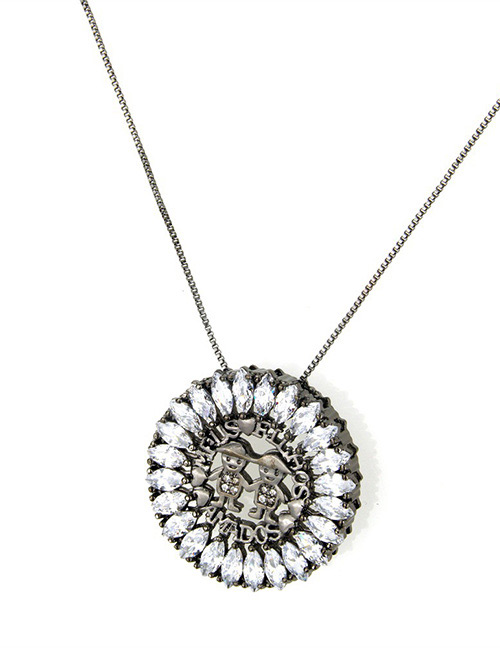 Fashion Black+white Round Shape Decorated Hollow Out Necklace