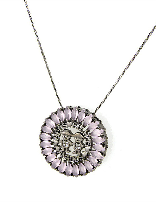 Fashion Pink+black Round Shape Decorated Hollow Out Necklace