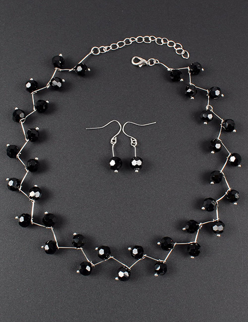 Fashion Silver Color+black Bead Decorated Pure Color Jewelry Set