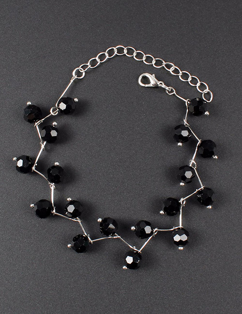 Fashion Black Bead Decorated Pure Color Bracelet
