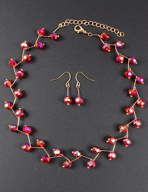 Fashion Red Bead Decorated Pure Color Jewelry Set