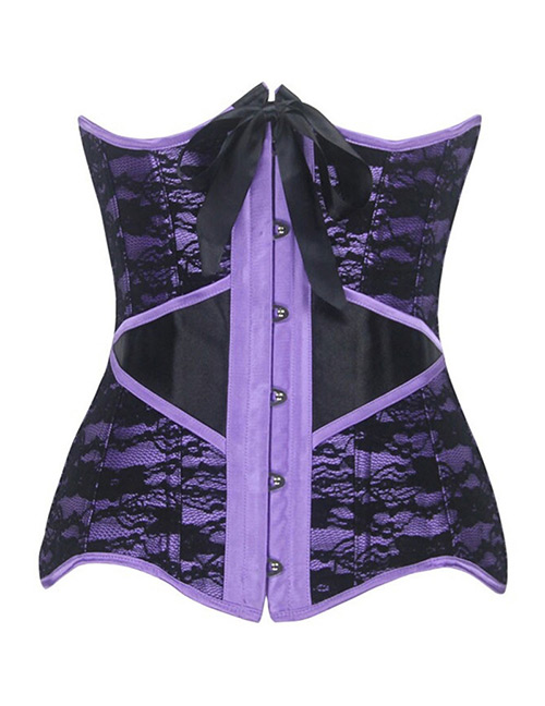 Fashion Purple Button Decorated Corset