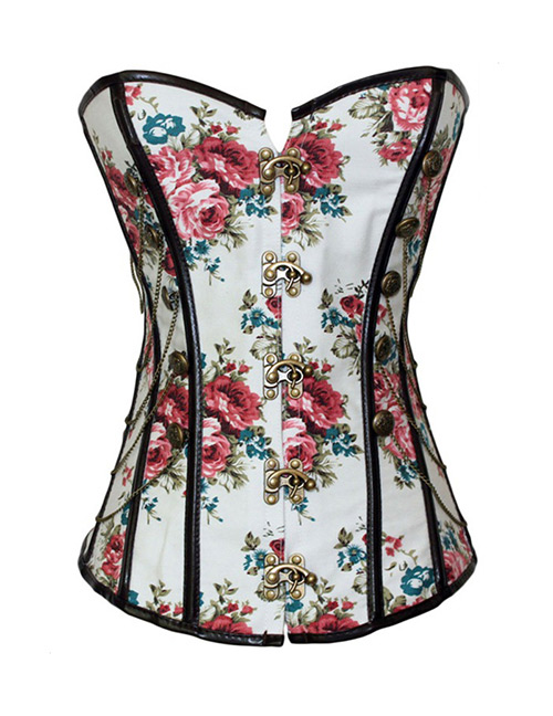 Fashion Multi-color Flower Pattern Decorated Corset