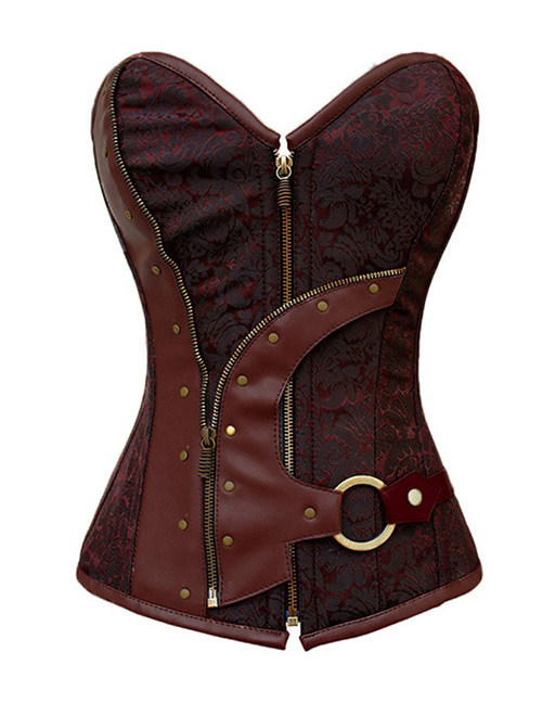 Fashion Claret Red Zipper Shape Decorated Corset