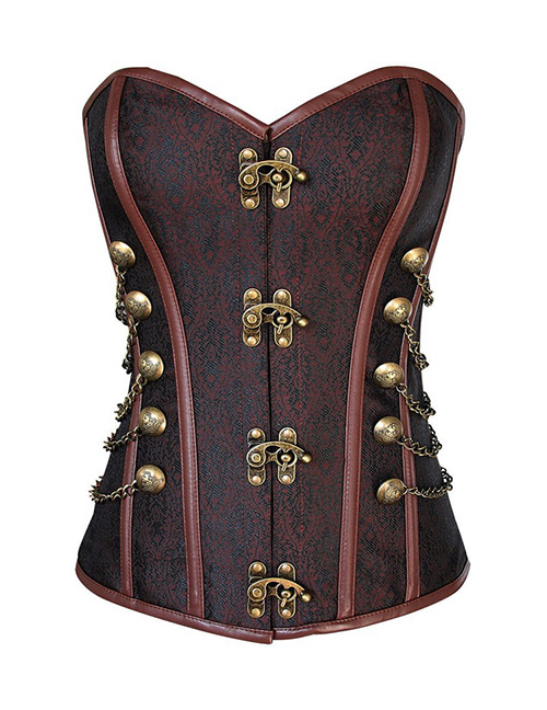Vintage Brown Buckle Shape Decorated Corset