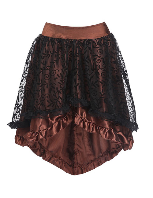 Fashion Brown Pure Color Decorated Skirt
