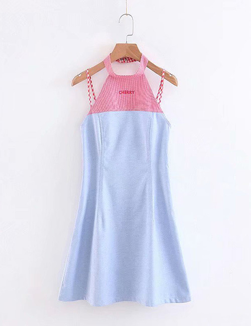 Fashion Pink Color Matching Decorated 0ff-the-shoulder Dress