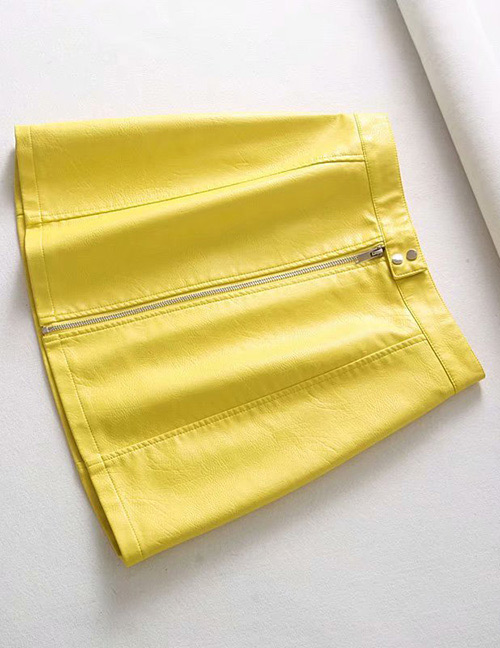 Fashion Yellow Zipper Decorated Pure Color Skirt