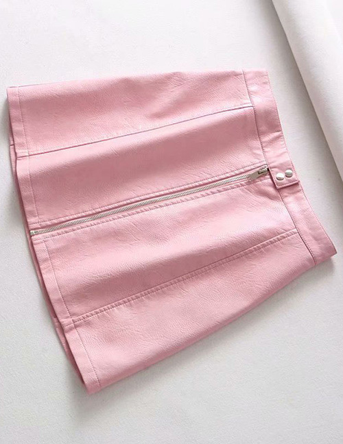 Fashion Pink Zipper Decorated Pure Color Skirt