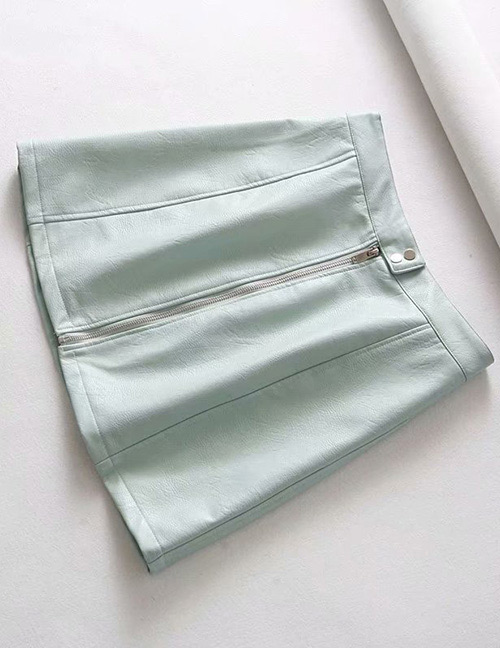 Fashion Light Green Zipper Decorated Pure Color Skirt