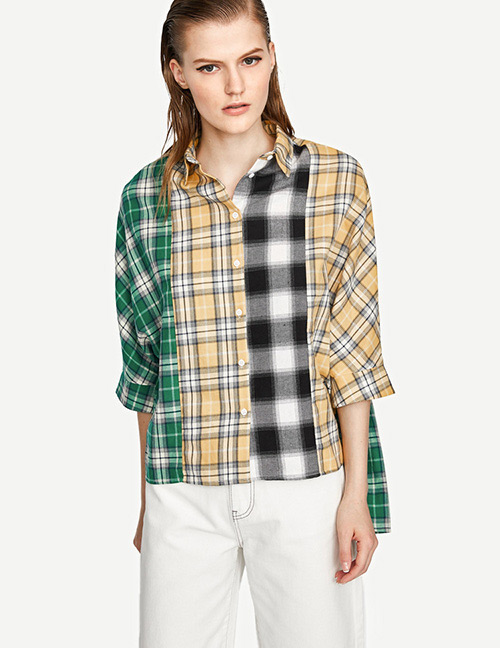 Fashion Multi-color Grid Pattern Decorated Shirt