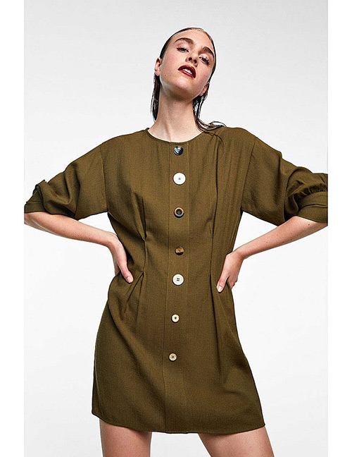Fashion Olive Green Button Decorated Dress