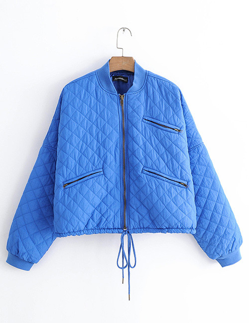 Fashion Blue Zipper Decorated Pure Color Coat
