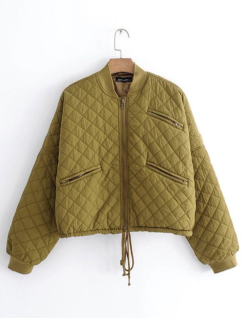 Fashion Olive Green Zipper Decorated Pure Color Coat