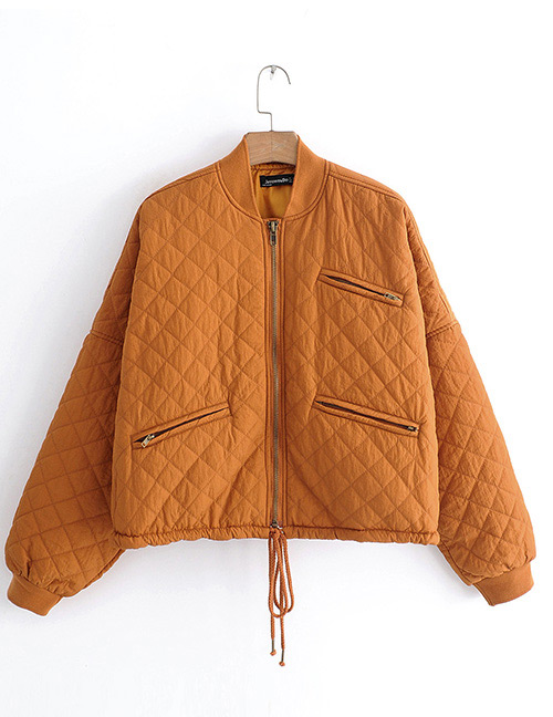 Fashion Orange Zipper Decorated Pure Color Coat