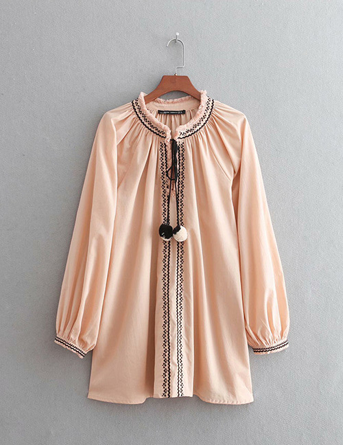 Fashion Pink Color Matching Decorated Shirt