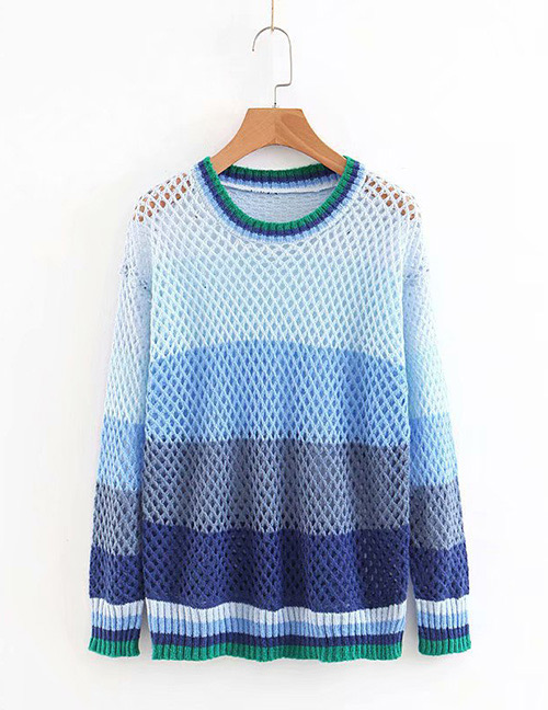 Fashion Multi-color Hollow Out Design Sweater