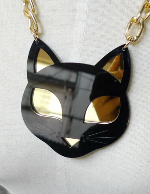 Fashion Black Cat Shape Decorated Neckalce