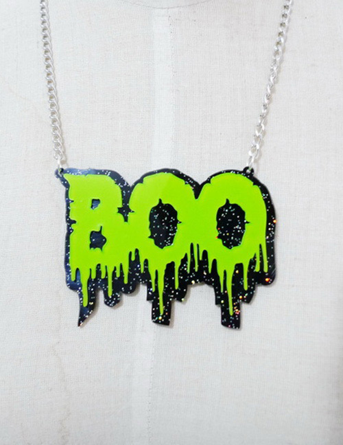 Fashion Green Letter Shape Decorated Necklace