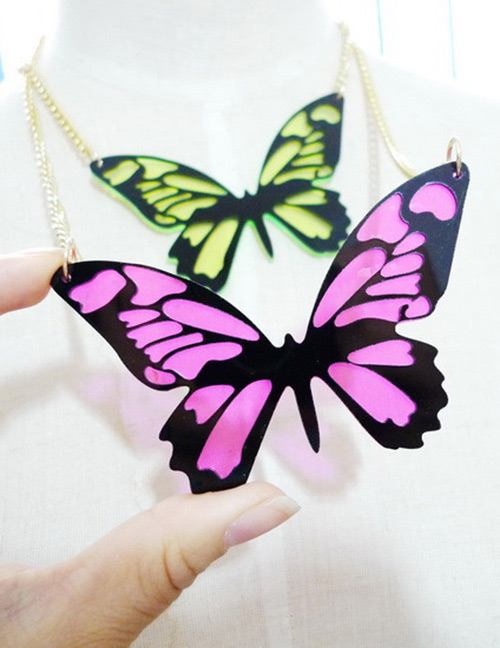 Fashion Pink Butterfly Shape Decorated Necklace
