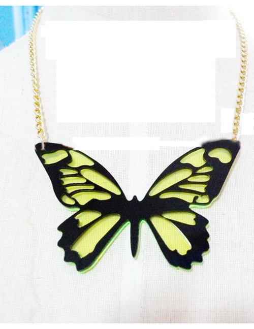 Fashion Green Butterfly Shape Decorated Necklace