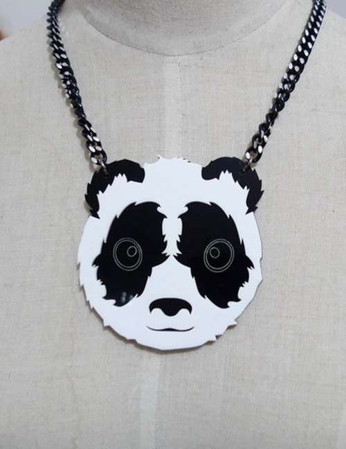 Fashion Black Color Matching Decorated Necklace