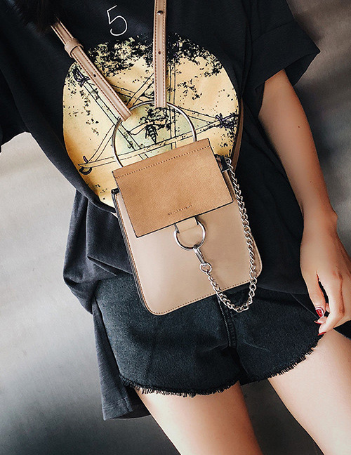 Fashion Khaki Square Shape Decorated Shoulder Bag