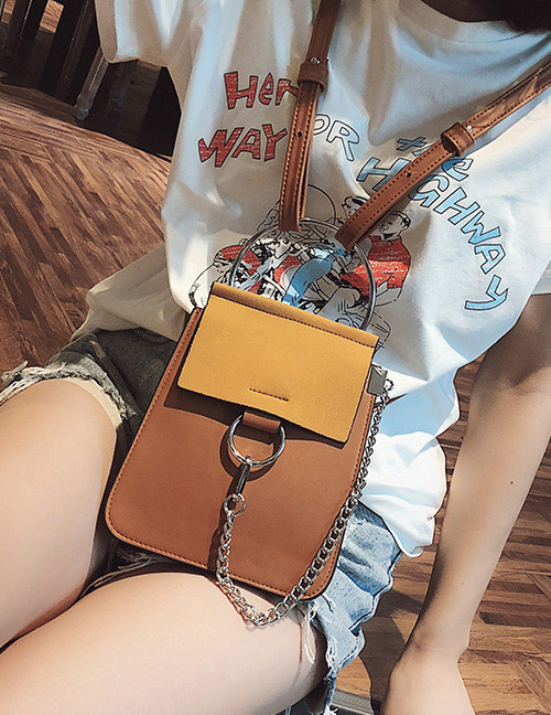 Fashion Brown Square Shape Decorated Shoulder Bag