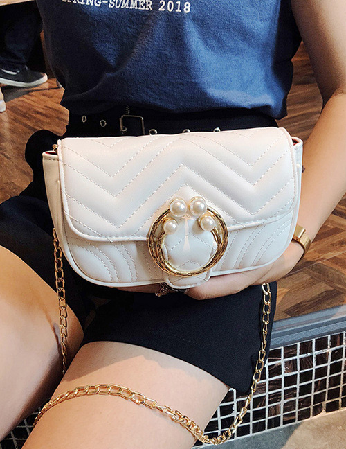 Fashion White Pearl Decorated Pure Color Shoulder Bag