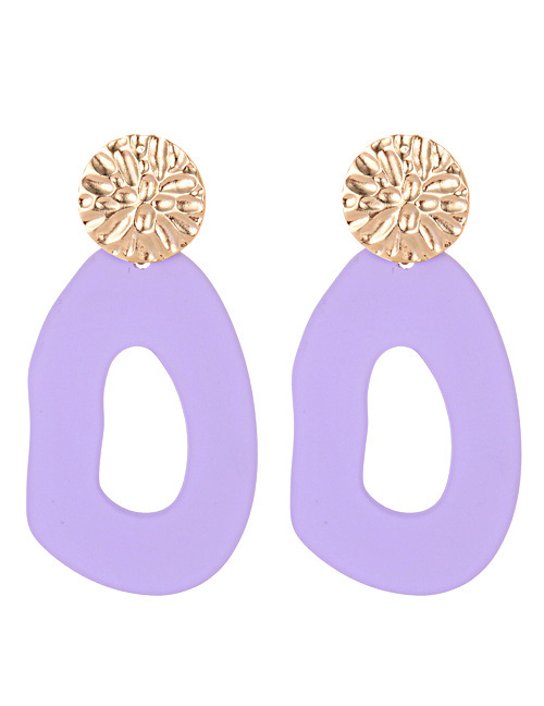 Fashion Purple Pure Color Decorated Earrings