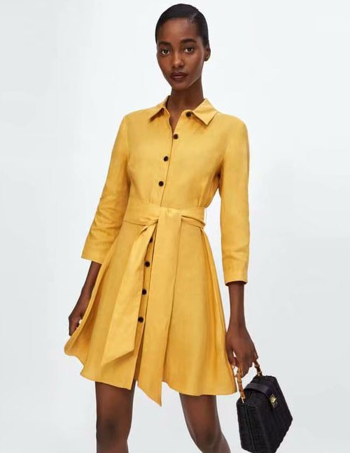 Fashion Yellow Button Decorated Pure Color Dress
