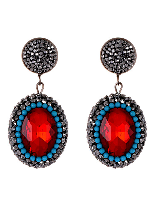 Vintage Red Oval Shape Decorated Earrings