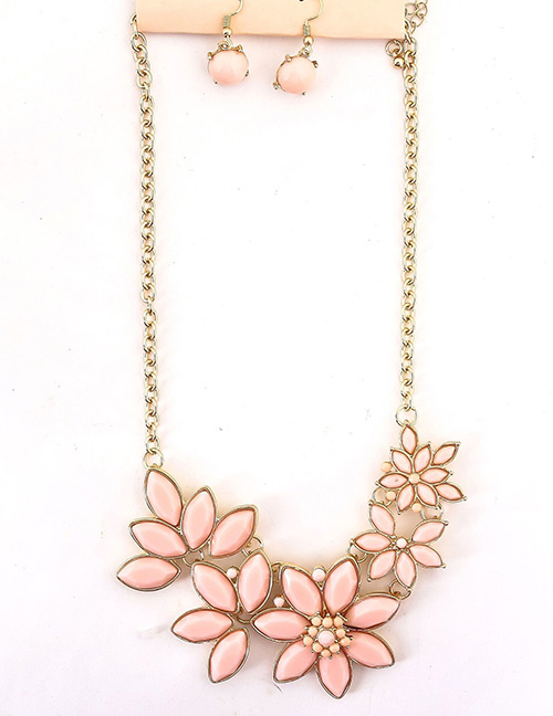 Fashion Pink Flower Shape Decorated Jewelry Set