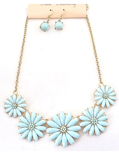 Fashion Blue Flower Shape Decorated Jewelry Set