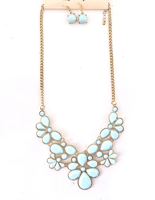 Fashion Blue Pure Color Decorated Jewelry Set